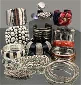 Large Costume Jewelry Lot of Lucite Bracelets, Bangles,