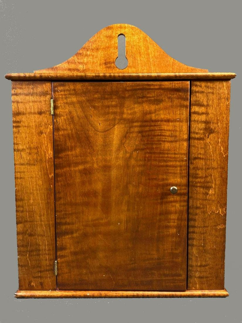 Curly Tiger Maple Early American Style Tabletop Cabinet