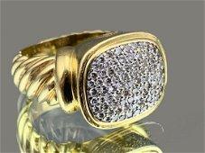 David Yurman 18k Gold and Pave Set Diamond Ring