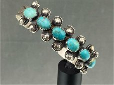 Navajo Sterling Silver Cuff with 6 Bezel Set Turquoise