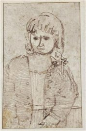 Mordecai Ardon Ink Sketch of Woman On paper