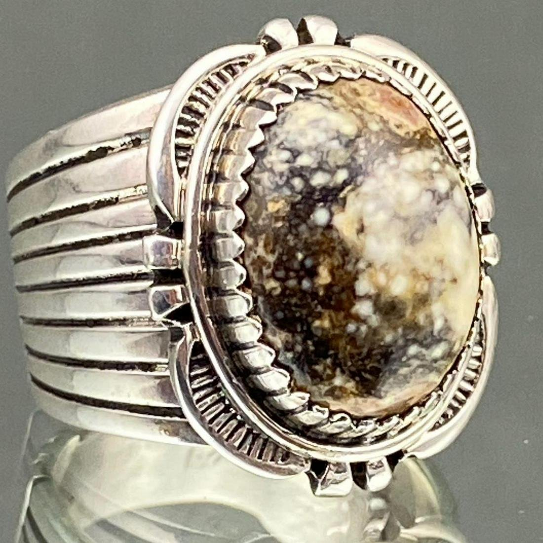 Navajo Sterling Silver Wild Horse Turquoise Ring, 13.2g