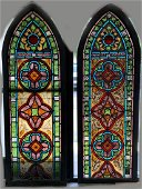 Pair of Antique Gothic Hand Painted Stained Glass