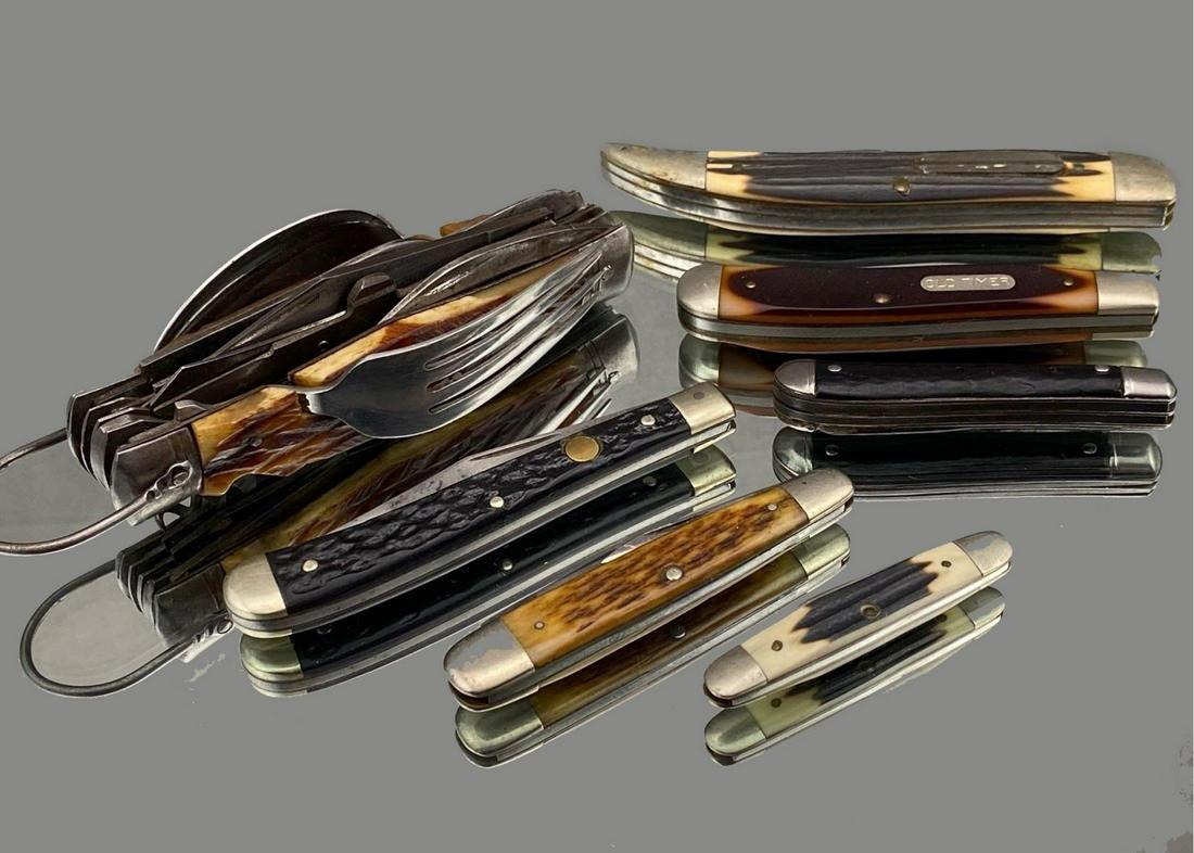 Lot Of 7 Vintage Stag Handle Pocket Knives