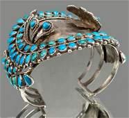 Sterling Silver Early Zuni Watch Cuff With 98 Bezel Set