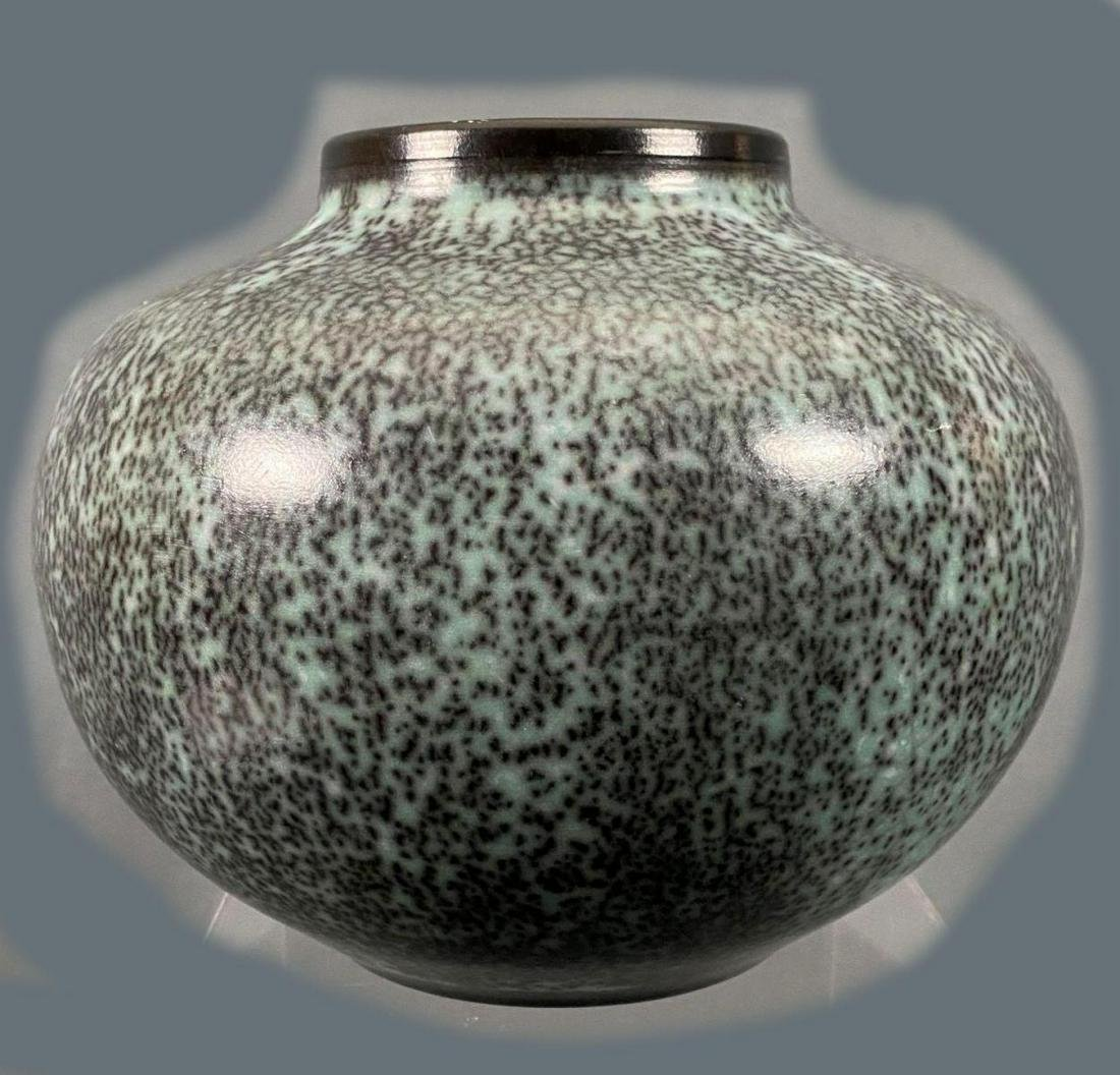 Mid Century Modern Glazed Blue And Black Ceramic Vase