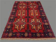 Afghan Camel Wool Rug in Deep Reds & Blues with 6
