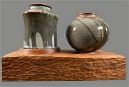 .Unique Three Piece Mid Century Modern Ceramic Vases