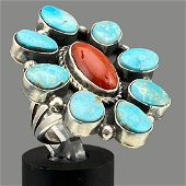 Navajo Sterling Silver Ring With 8 Bezel Set Turquoise