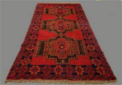 Afghan Camel Wool Tribal Rug in Deep Reds & Blues with