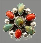 Native American Sterling Silver Red Coral and Turquoise