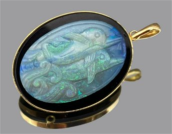 14k Gold Opal Pendant with Carved Dolphins