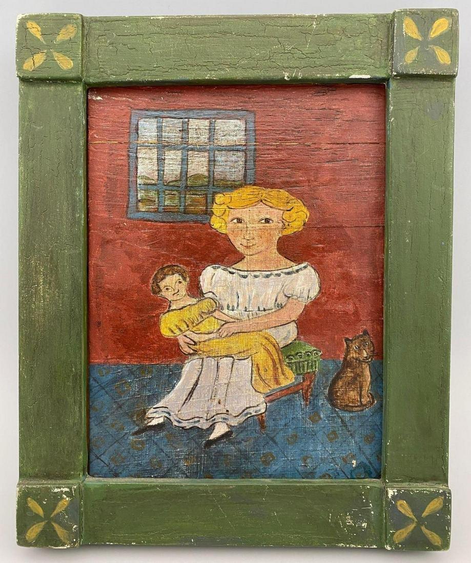 Early British 20th Century Folk Art Painting of Girl