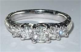 Art Deco Style 5 Diamonds 18 Karat White Gold