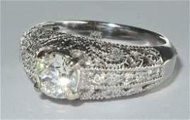 Edwardian Style 14 Karat White Gold Diamond Engagement