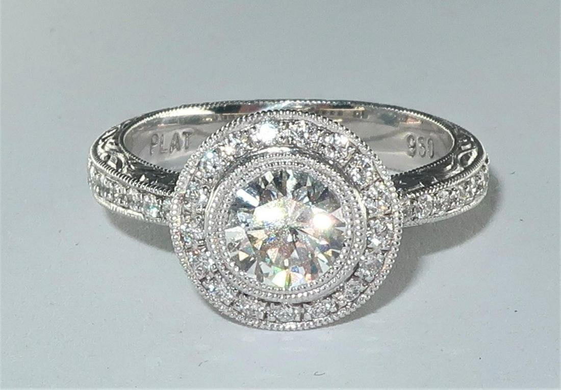 Art Deco Style Platinum Diamond Engagement Ring. 1.30ct