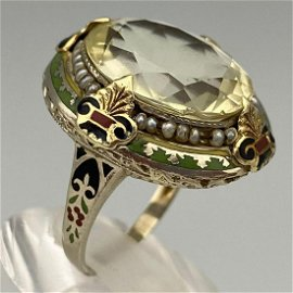 Spectacular Antique 10k Gold Citrine, Pearl, And Enamel