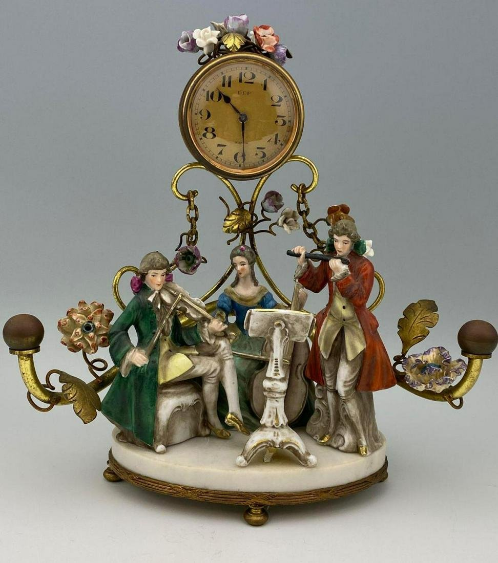 Antique French Mantle Clock with Porcelain Figures,