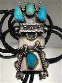 Large Navajo Sterling Silver Kachina Bolo With 4 Bezel