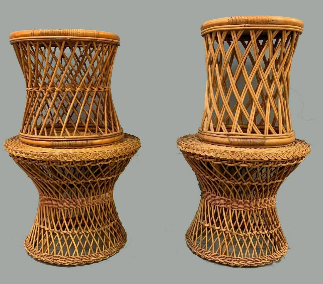 Lot of Four Woven Bamboo and Wicker Side Tables
