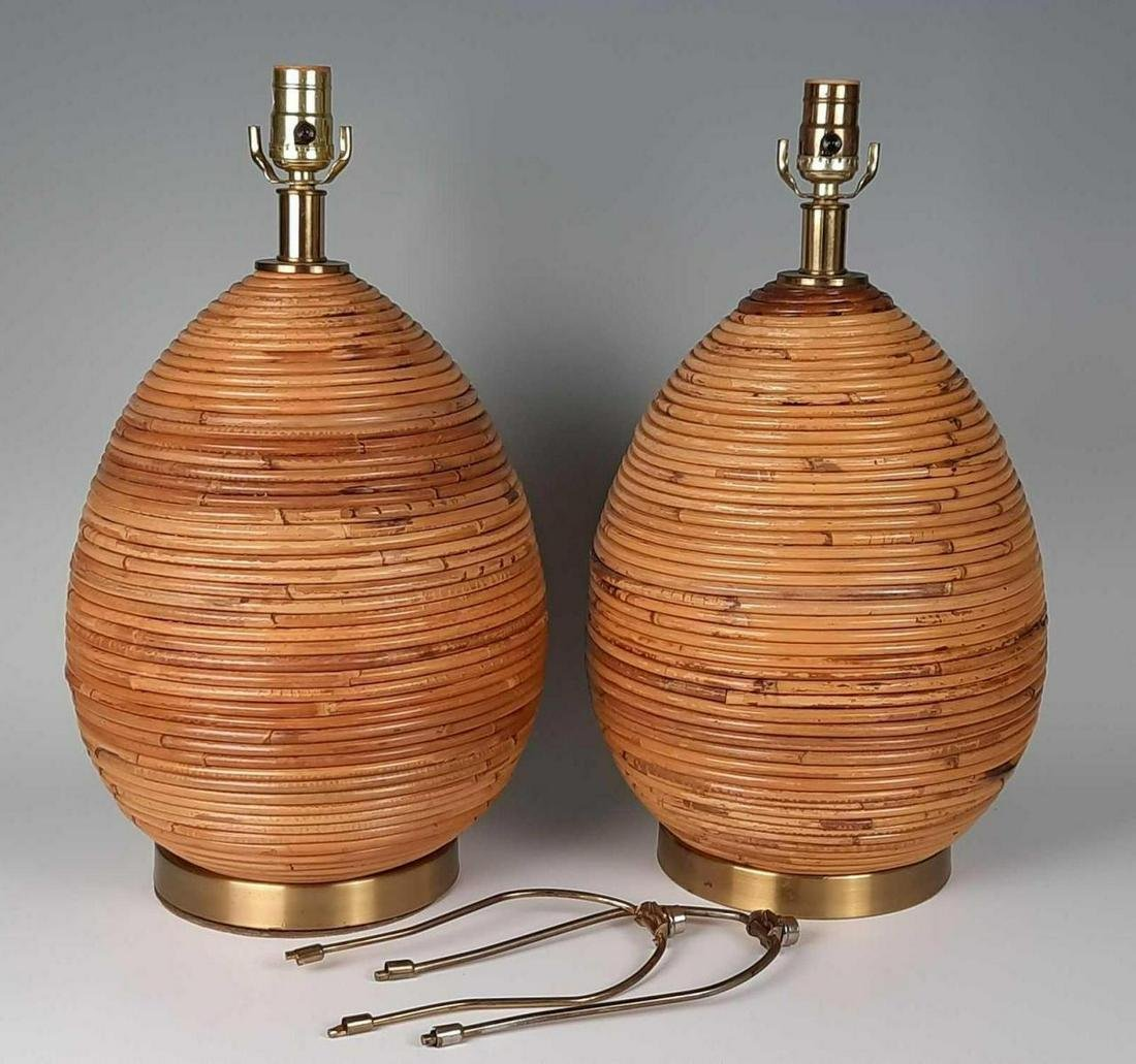 Pair of Modernist Rattan Table Lamps, Manner of
