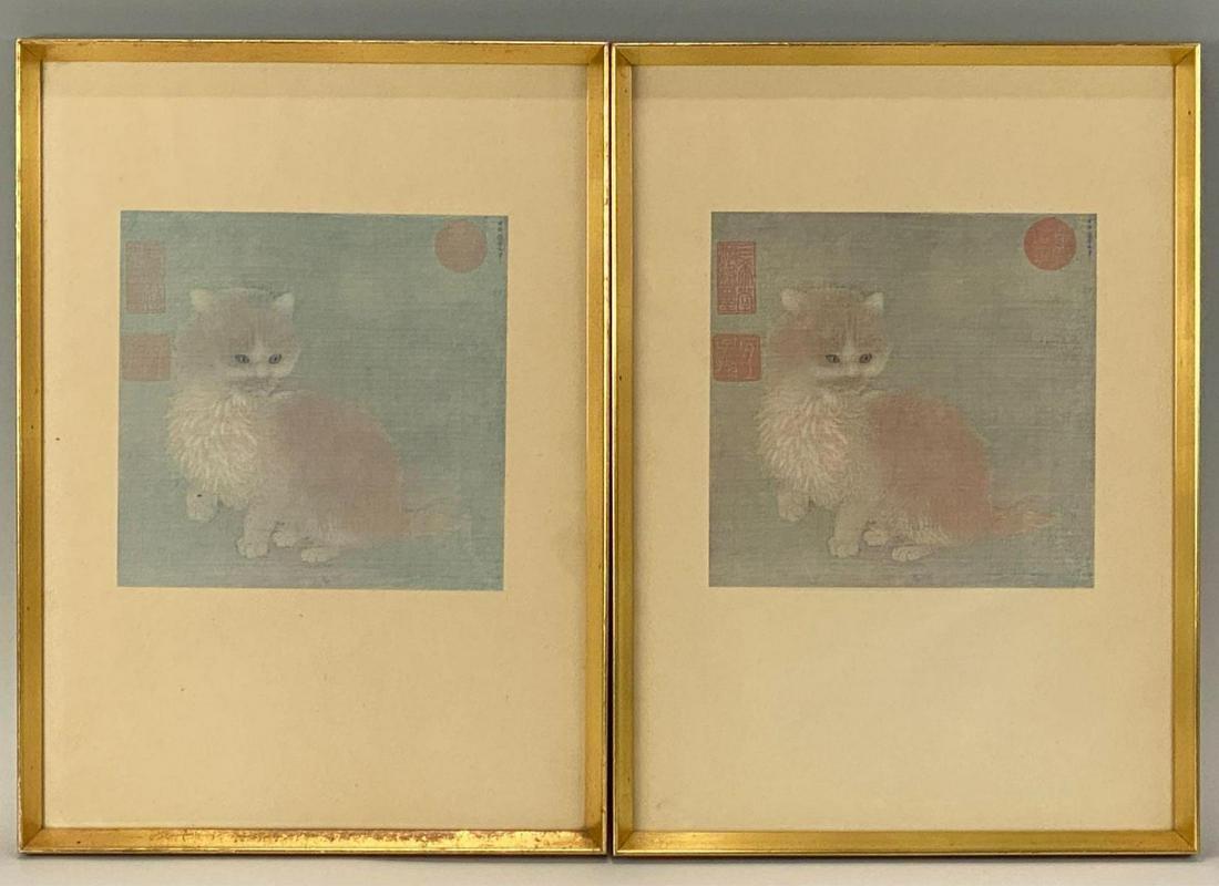 Pair of Chinese Cat Prints in Matching Metallic Gold