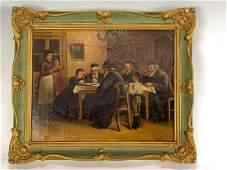 Italian School Oil on Canvas Jewish Men Signed Berg
