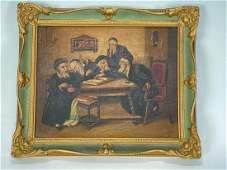 Italian School Oil on Canvas Jewish Men Signed