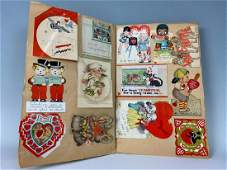 Large Scrapbook Filled with Old Valentines, Christmas
