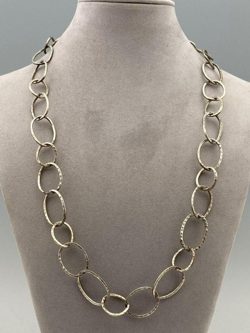 Sterling Silver Hand Hammered Link Necklace