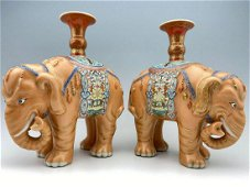 Exceptional Pair of Chinese Qianlong Porcelain Elephant