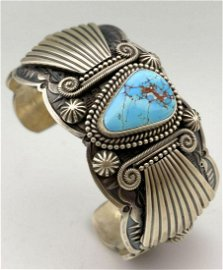 Navajo Turquoise and Sterling Silver Cuff Bracelet by