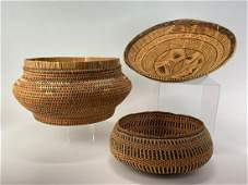 Two Woven Basket, Possibly Native or Central American,