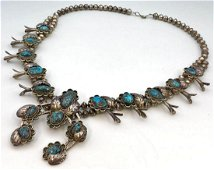 Vintage Navajo Sterling Silver and Turquoise Squash