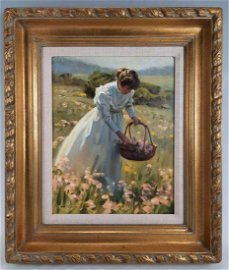Tom Browning, Woman Picking Flowers, Oil on Canvas