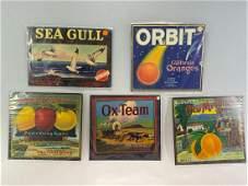 Lot of Five California Fruit Crate Labels