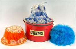 3 Vintage Feather Hats with Stetson Hat Box