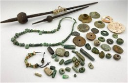 Large Lot of Jade & Hardstone Carved Mayan Items,