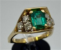 14k Gold Emerald And Diamond Ring