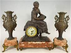 Antique Bronze Figural Clock and Pair of Garniture Urns