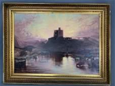 Monumental 19th Century Castle Landscape Oil on