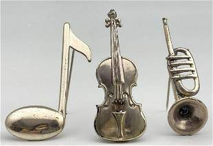 3 Vintage Sterling Silver Musical Pins, 20.2g