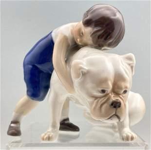 Royal Copenhagen Boy with Bulldog
