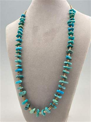 Navajo Turquoise Nugget And Heishi Bead Necklace
