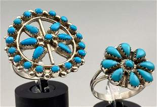 2 Zuni Sterling Flower Rings with Bezel Set Turquoise