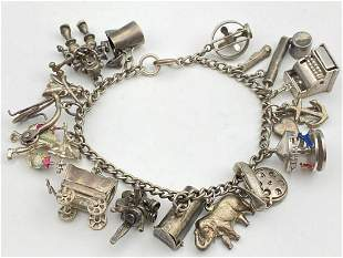 Vintage Sterling Silver Charm Bracelet, 43.8g