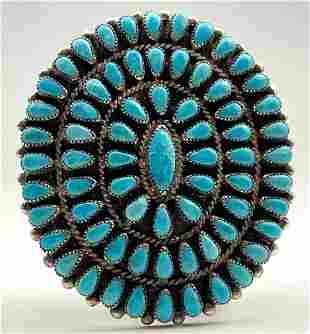 Navajo Coin Silver Belt Buckle with Bezel Set