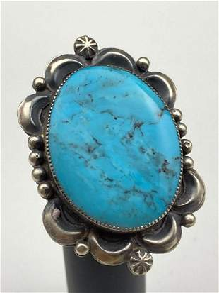 Navajo Sterling Ring with Bezel Set Turquoise by