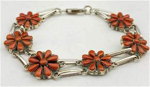 Zuni Coral & Sterling Flower Link Bracelet, by Arlo