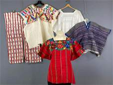 5 Vintage Folk Guatemalan Colorful Embroidered Huipil